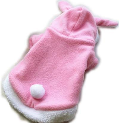 Bunny Costume Hooded Fleece Warm Outfit for Cats Cat Clothing Pet Clever Pink L