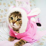 Bunny Costume Hooded Fleece Warm Outfit for Cats Cat Clothing Pet Clever