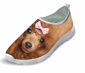 Casual Air Mesh Dog Print Walking Shoes Dog Design Footwear Pet Clever Pink Lady