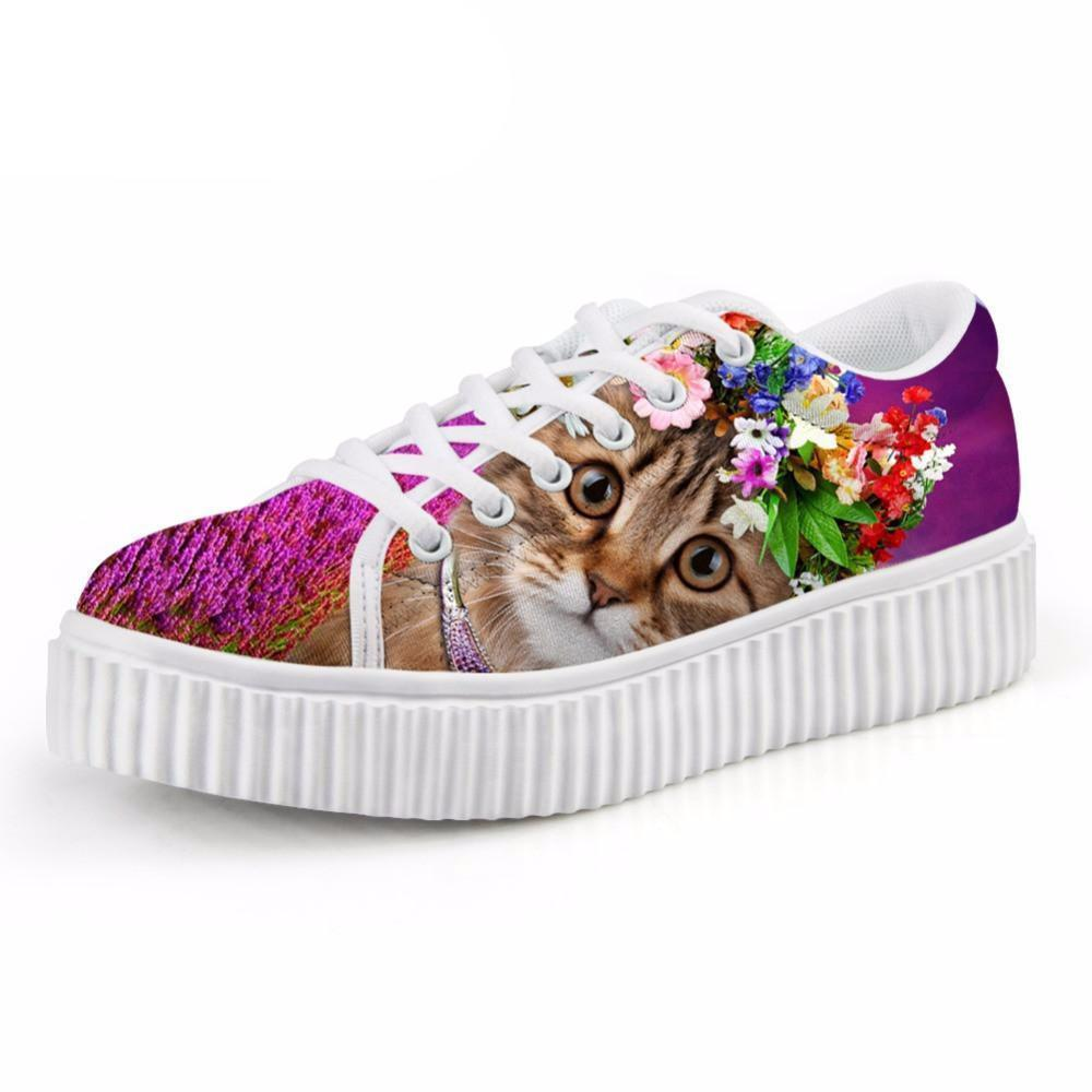 Casual Big Eyes Cat with Floral Crown Print Flat Platform Lace up Shoes Cat Design Footwear Pet Clever US 5 - EU35 -UK3