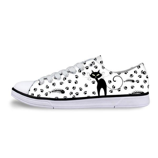 Casual Canvas Women Sneaker Cat Shoes Cat Design Footwear Pet Clever A