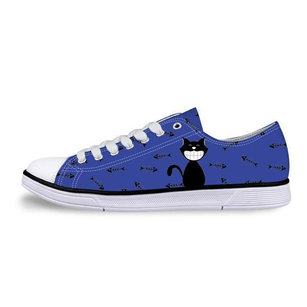 Casual Canvas Women Sneaker Smiley Cat Design in Blue Shoes Cat Design Footwear Pet Clever US 5 - EU35 -UK3