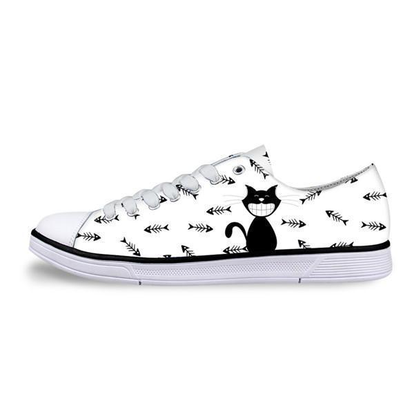 Casual Canvas Women Sneaker Smiley Cat Design in White Shoes Cat Design Footwear Pet Clever US 5 - EU35 -UK3