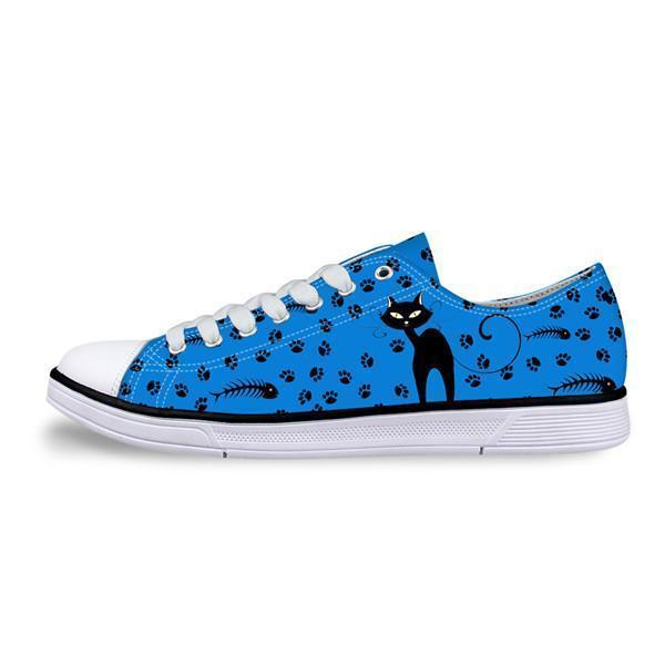 Casual Canvas Women Sneaker Stylish Cat Design in Blue Shoes Cat Design Footwear Pet Clever US 5 - EU35 -UK3