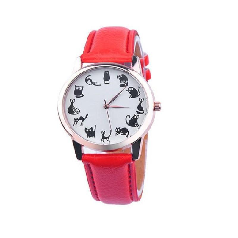 Casual Cat Print 12 Emotions Leather Band Watch Cat Design Accessories Pet Clever Red