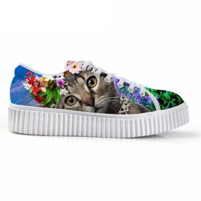 Casual Cat Print Flat Platform Lace up Shoes Cat Design Footwear Pet Clever 1