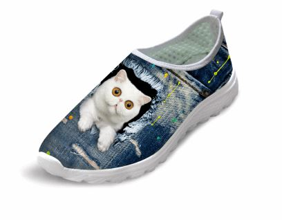 Casual Cat Printed Air Mesh Shoes Cat Design Footwear Pet Clever 1