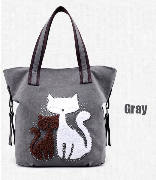 Casual Cute Lady Cat Design Shoulder Bags Cat Design Bags Pet Clever Gray
