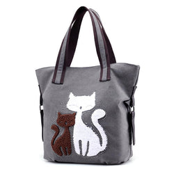 Casual Cute Lady Cat Design Shoulder Bags