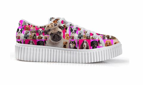 Casual Dog Print Flat Platform Lace up Shoes Dog Design Footwear Pet Clever 1