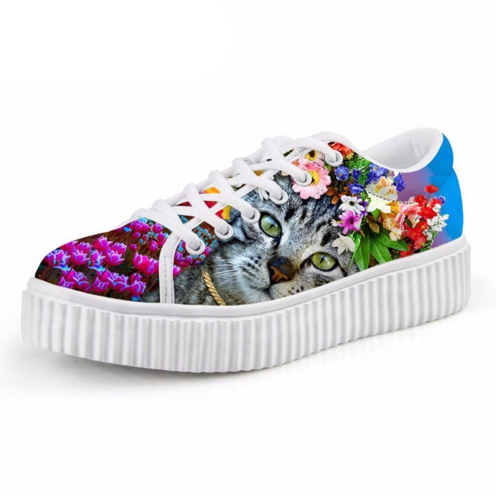 Casual Gray Cat with Floral Crown Print Flat Platform Lace up Shoes Cat Design Footwear Pet Clever US 5 - EU35 -UK3
