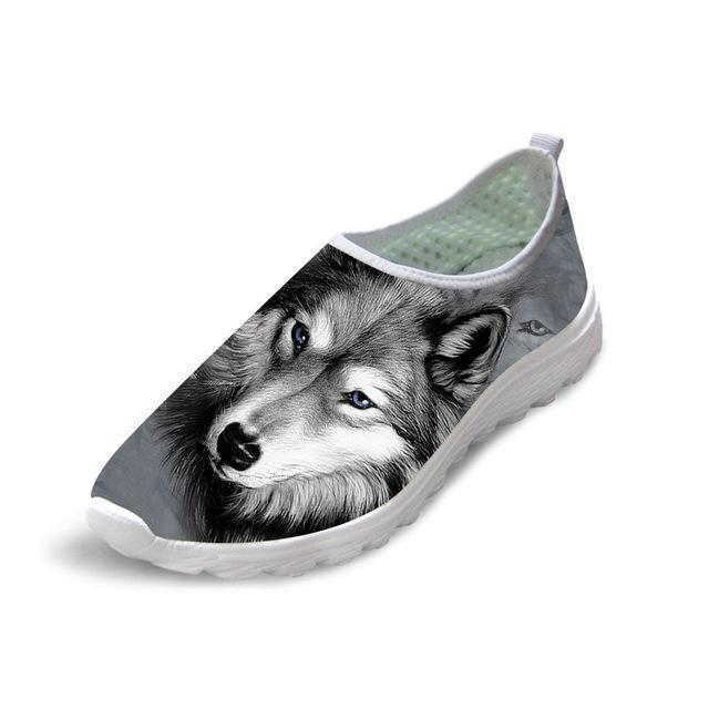 Casual Mesh Shoes 3D Cool Dog Printed Slip-on Dog Design Footwear Pet Clever 1