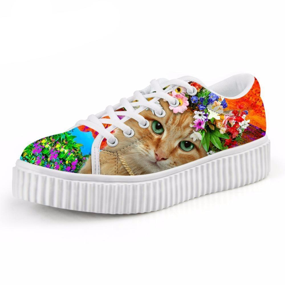 Casual Orange Cat with Floral Crown Print Flat Platform Lace up Shoes Cat Design Footwear Pet Clever US 5 - EU35 -UK3