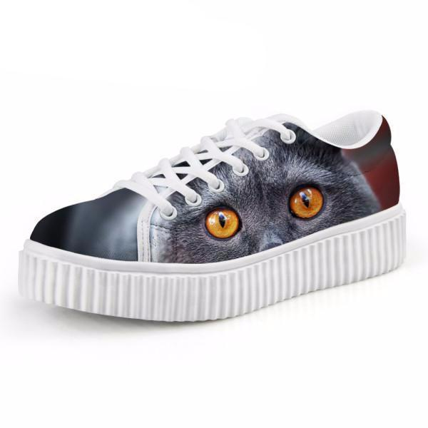 Casual Orange Eyes Cat Print Flat Platform Shoes Cat Design Footwear Pet Clever US 5 - EU35 -UK3
