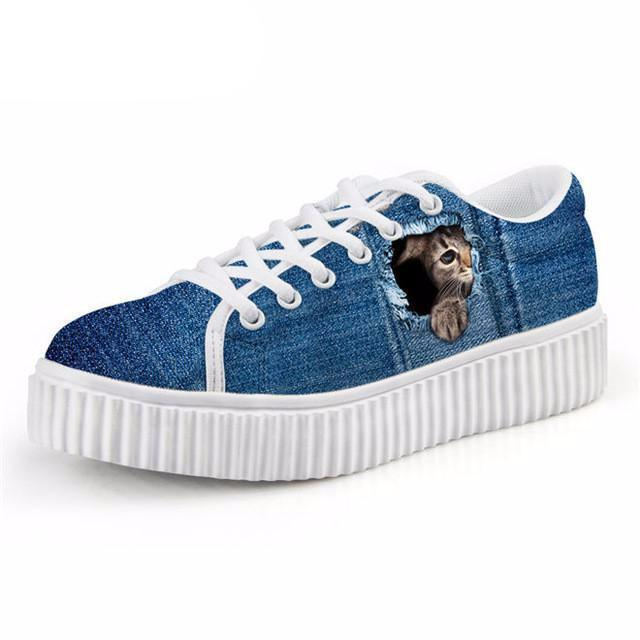 Casual Shy Cat Print Flat Platform Creepers Shoes Cat Design Footwear Pet Clever US 5 - EU35 -UK3