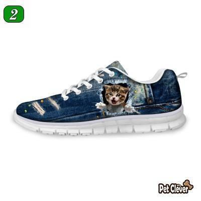 Casual Suprised Cat Print Breathable Lace-up Flat Shoes Cat Design Footwear Pet Clever US 5 - EU35 -UK3