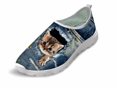 Casual Tiny Cat Printed Air Mesh Shoes Cat Design Footwear Pet Clever US 5 - EU35 -UK3