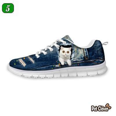 Casual White Cat Print Breathable Lace-up Flat Shoes Cat Design Footwear Pet Clever US 5 - EU35 -UK3