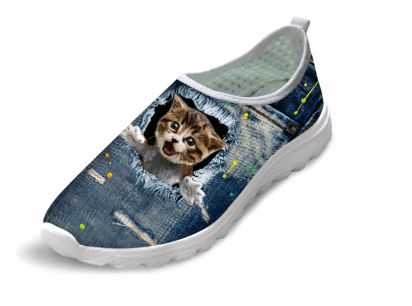 Casual Wow Cat Printed Air Mesh Shoes Cat Design Footwear Pet Clever US 5 - EU35 -UK3