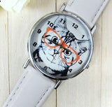 Cat Analog Round Leather Watch Cat Design Accessories Pet Clever White