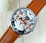 Cat Analog Round Leather Watch Cat Design Accessories Pet Clever Brown