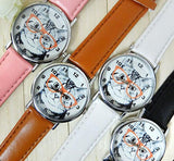 Cat Analog Round Leather Watch Cat Design Accessories Pet Clever Pink