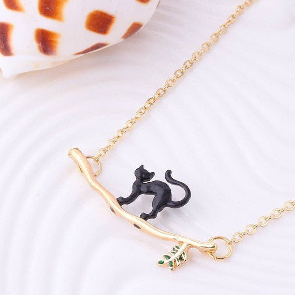 Cat Branch Tree Pendant Necklace Cat Design Jewelry Pet Clever Black Cat