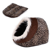 Cat Cave Bed House With Removable Cushion & Waterproof Bottom Cat Beds & Baskets Pet Clever Brown Animal Print