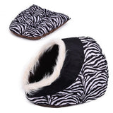 Cat Cave Bed House With Removable Cushion & Waterproof Bottom Cat Beds & Baskets Pet Clever Black Animal Print
