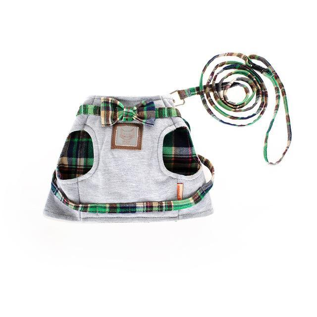 Cat Collar Adjustable Harness Leash British Style Cat Clothing Pet Clever Green XS