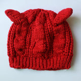 Cat Ear Beanie Hat Cat Design Accessories Pet Clever Red
