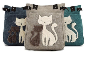 Cat Embroidery Canvas Bags Cat Design Bags Pet Clever
