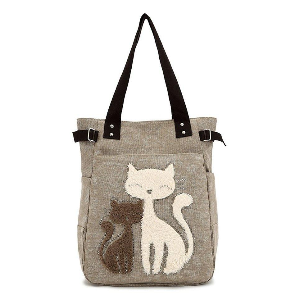 Cat Embroidery Canvas Bags Cat Design Bags Pet Clever Khaki