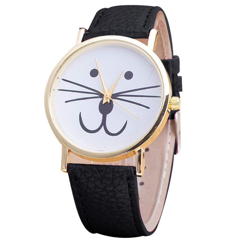 Cat Face Pattern Analog Leather Watch Cat Design Accessories Pet Clever Black
