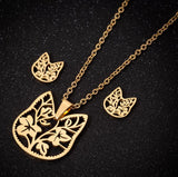 Cat Flower Necklace Set Cat Design Accessories Pet Clever Gold
