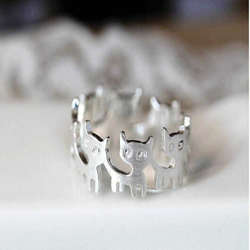 Cat Friendship Ring Cat Design Jewelry Pet Clever Silver