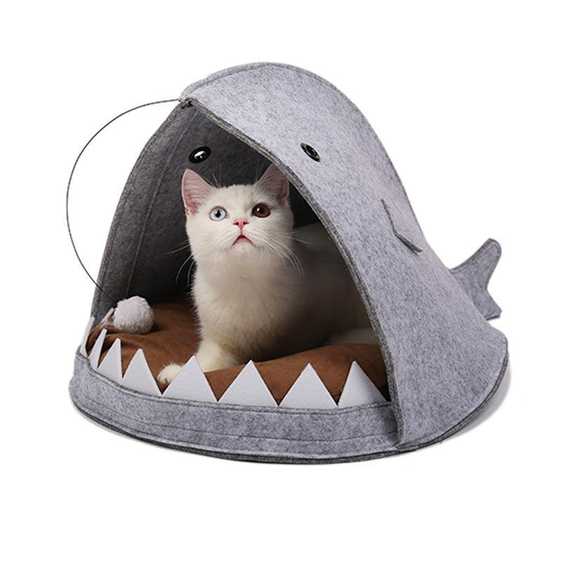 Cat House Bed Shark Shape Design Style Cat Beds & Baskets Pet Clever