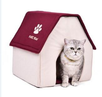Cat House Soft Bed Removable Cat Beds & Baskets Pet Clever Red