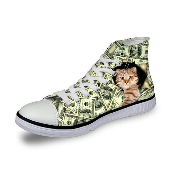 Cat in Dollars Print High Top Canvas Women Shoes Cat Design Footwear Pet Clever A