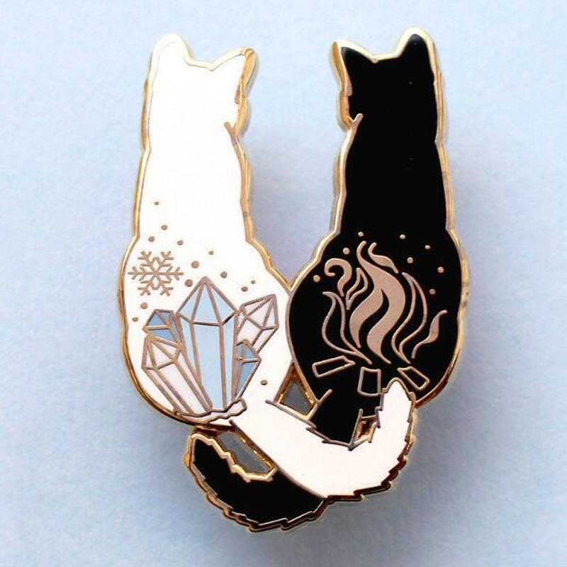 Cat Intertwined Tail Brooch Cat Design Accessories Pet Clever