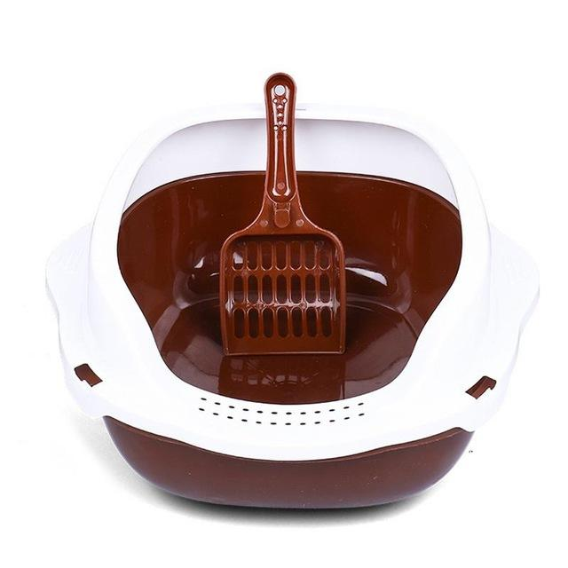 Cat Litter Box With Shovel Cat Litter Boxes & Litter Trays Pet Clever Brown