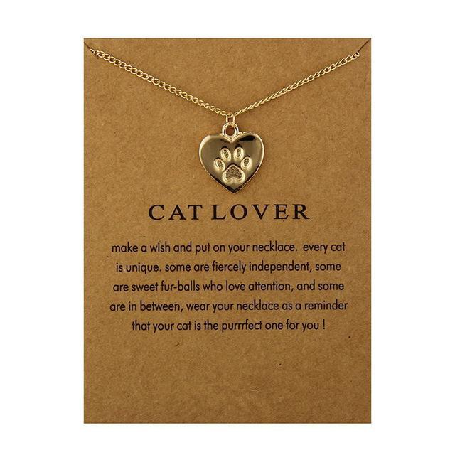 Cat Lover Friendship Heart Charm Necklace Cat Design Jewelry Pet Clever HAVE CARD GOLD