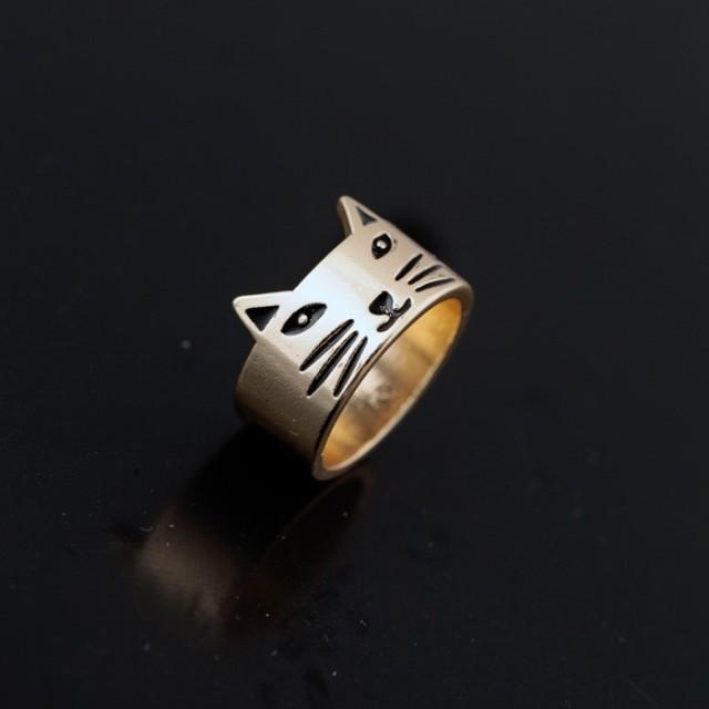 Cat Mustache face Ring Cat Design Jewelry Pet Clever Gold