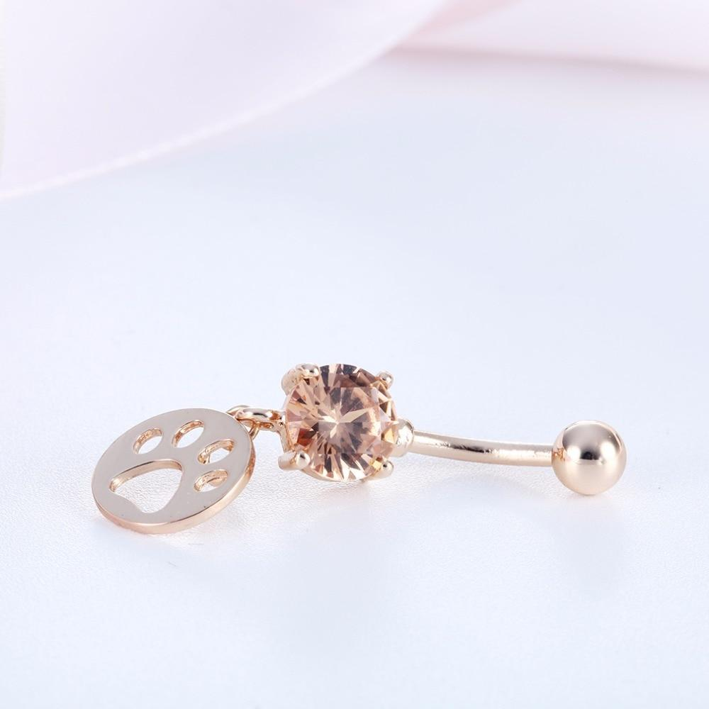 Cat Paw Dangle Belly Button Ring Cat Design Accessories Pet Clever Gold-color