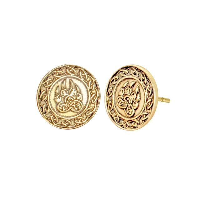 Cat Paw Earrings Cat Design Accessories Pet Clever Gold-color