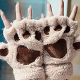 Cat Paw Gloves Cat Design Accessories Pet Clever Beige