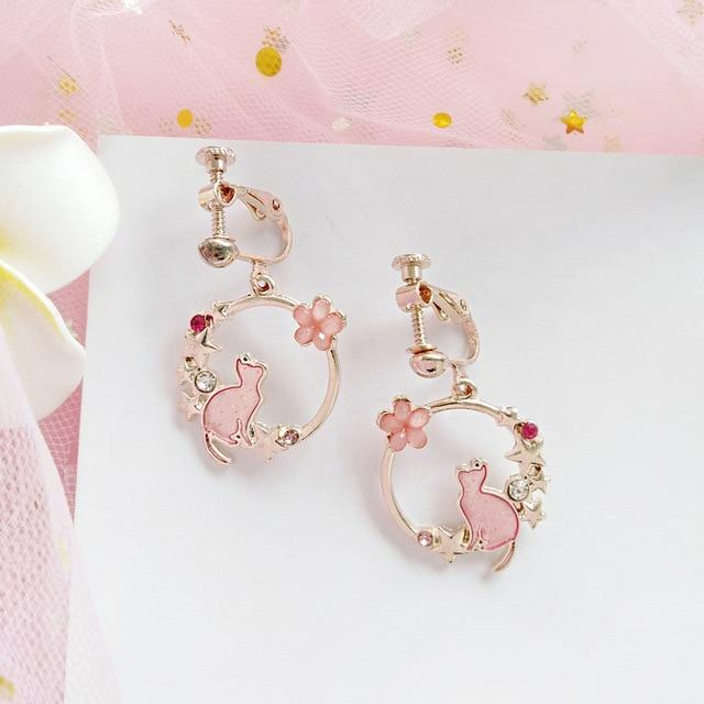 Cat Pendant Clip Earrings Cat Design Accessories Pet Clever Pink