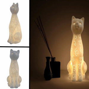 Cat Porcelain Night Lamp Home Decor Cats Pet Clever