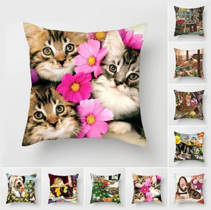 Cat Print Cushion Cover Cat Design Accessories Pet Clever