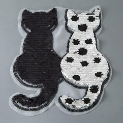 Cat Shape Reversible Sequins Sew On Patch